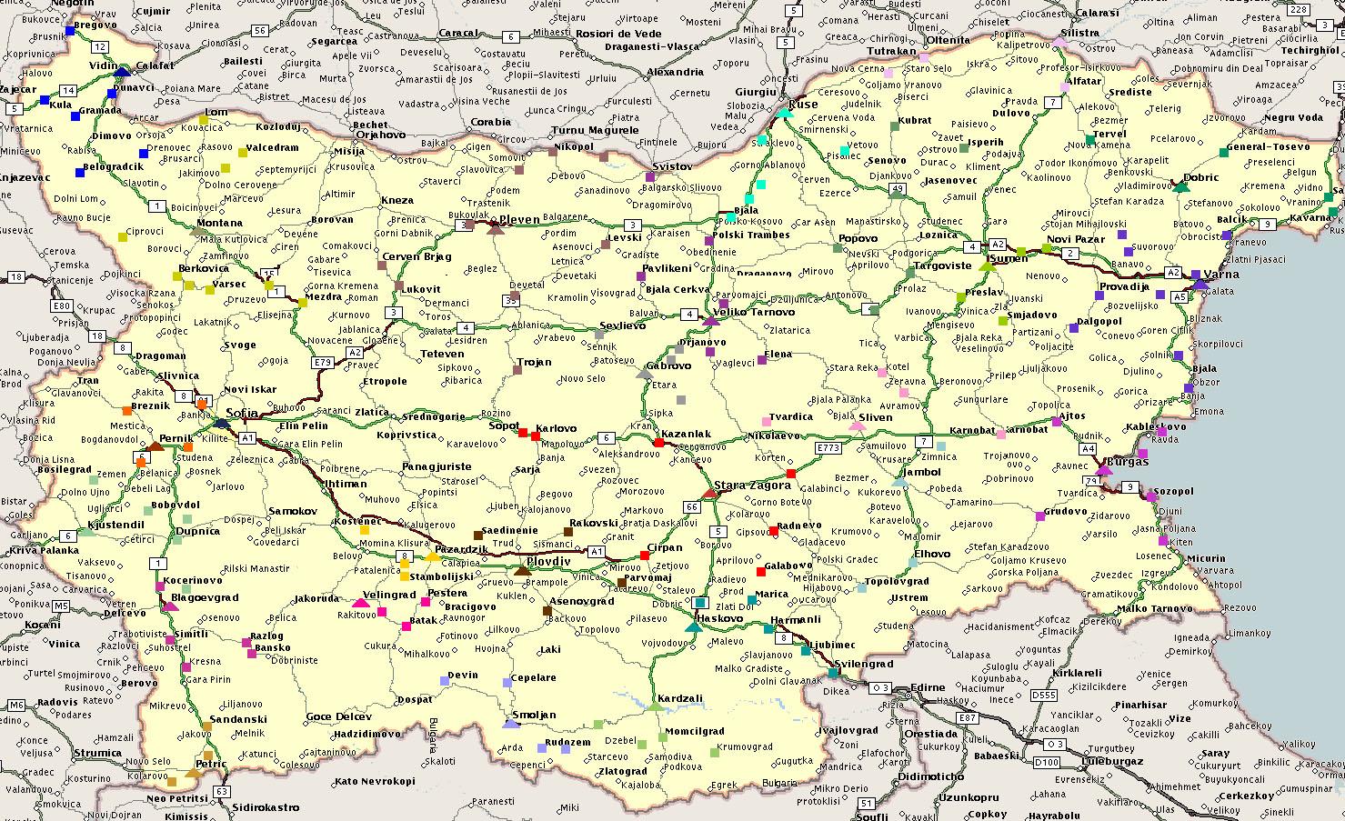 Bulgária   Mapas Geográficos da Bulgária