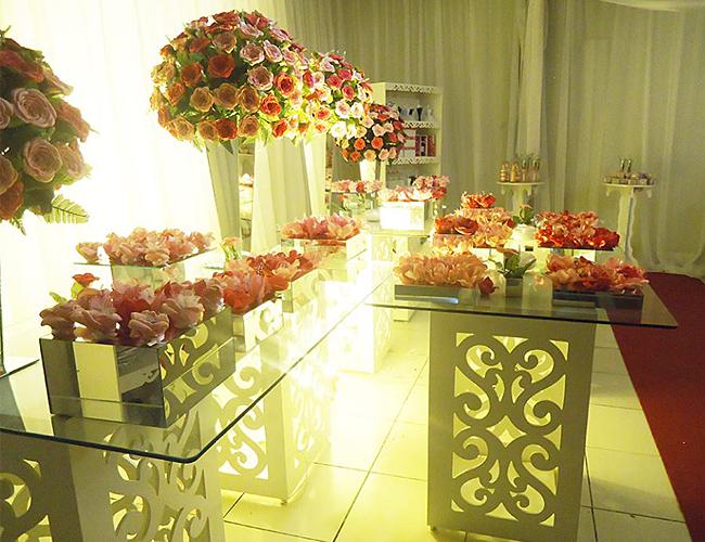 Decoração de festa de casamento rosa pink e rosa bebe