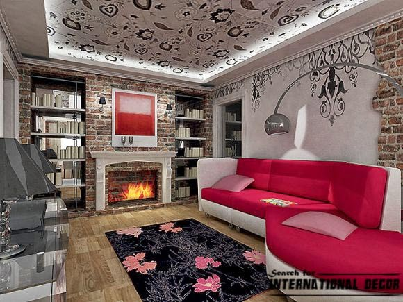 decorative stone wall and false ceiling for living room interior
