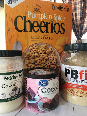 pumpkin spice cheerios box, coconut oil, coconut oil, cocoa powder, pb fit powder