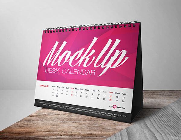 Mockup PSD Kalender 2019 Terbaru - Free Desk Calendar PSD Mockup File