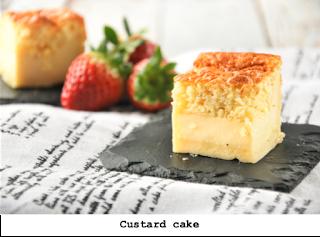 Drie laagjes cake met custard, voor 4 personen o voor 8 bij de koffie