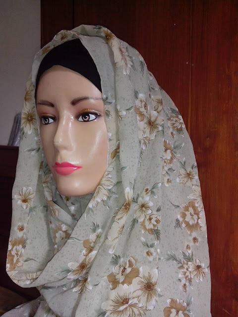 Jual Pashmina Sifon Motif Bunga Cantik Murah