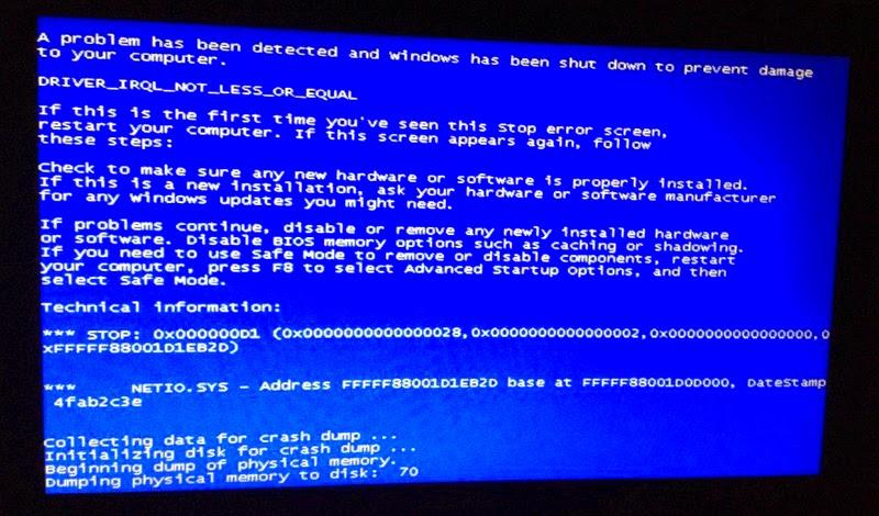 Общие инструкции по решению синего экрана смерти.