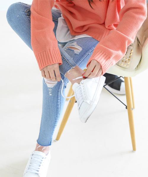 BongjaShop Distressed Skinny Pants