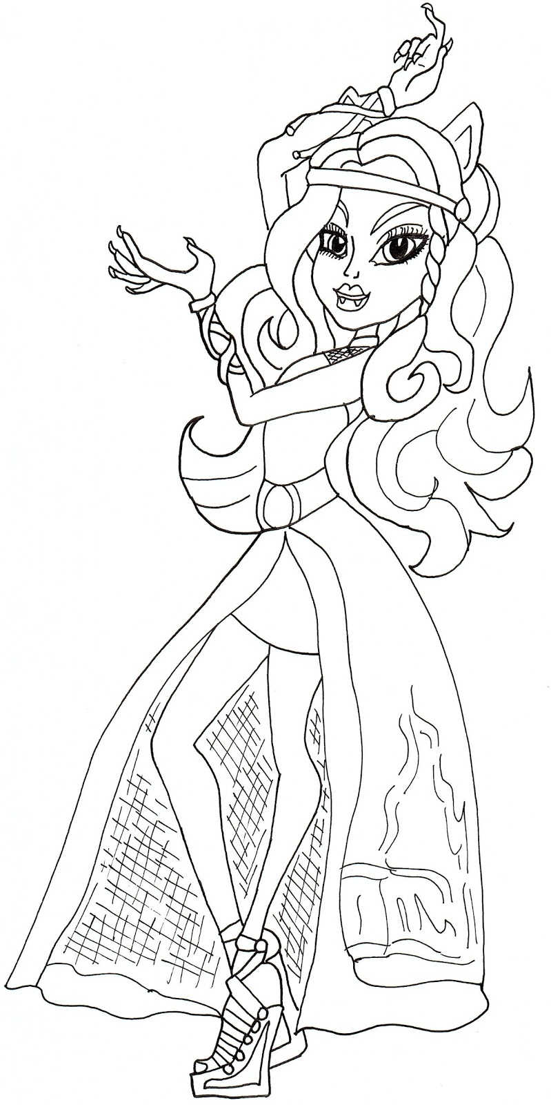 Free Printable Monster High Coloring Pages: Clawdeen Haunt