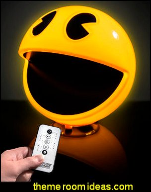 Pac-Man Lamp  Gamer bedroom - Video game room decor - gamer bedroom furniture - gamer wall decal stickers - Super Mario Brothers Wall Stickers - gamer bedding - Super Mario Brothers bedding - Pacman decor -