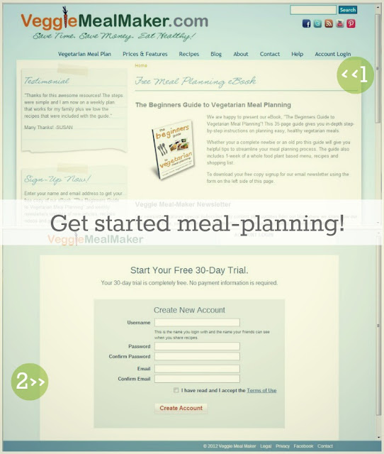 free meal-planning ebook guide, vegan vegetarian meal-planning service, 30-day free trial