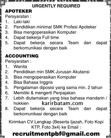 Lowongan Kerja Accounting dan Apoteker