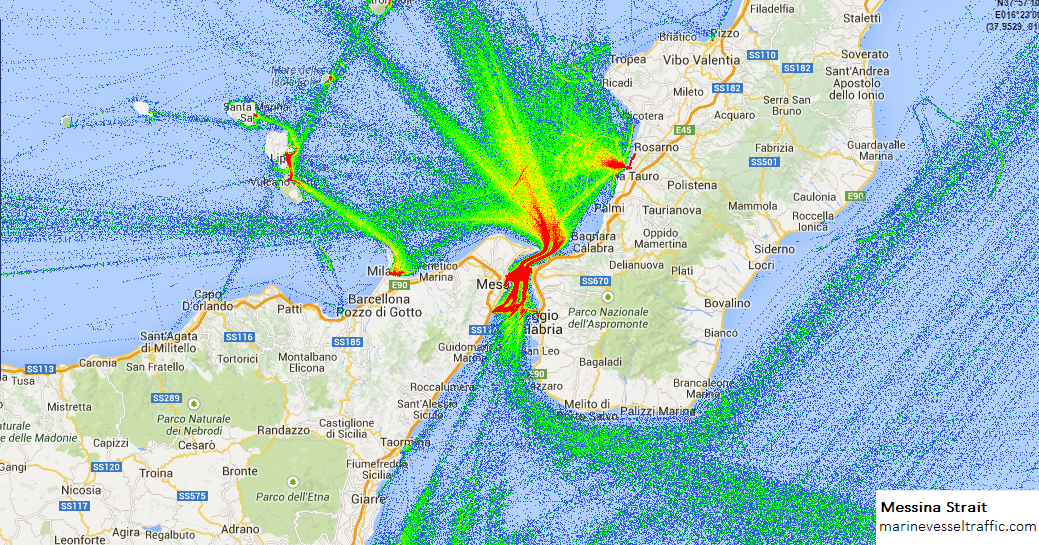 Messina Strait Ship Traffic Tracker Marine Vessel Traffic
