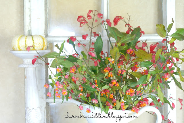Fall flower arrangement Bittersweet and Burning Bush