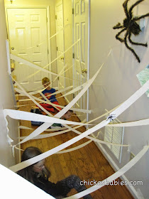 such a fun idea for a Halloween game! Can you get through the spider's web without touching the sticky web?