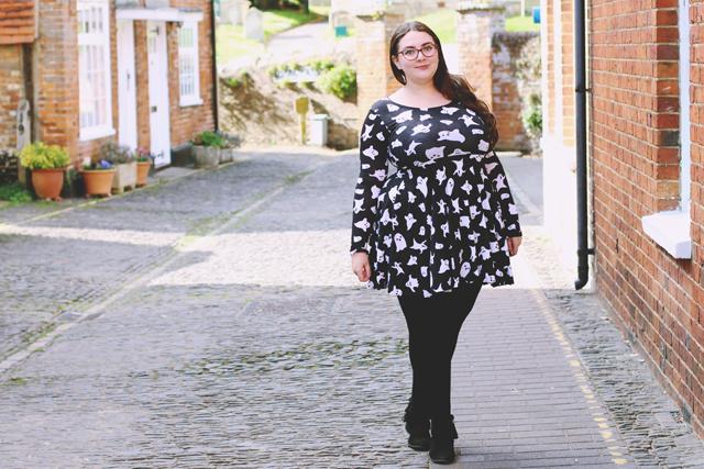 Ghost print dress Boohoo Plus size
