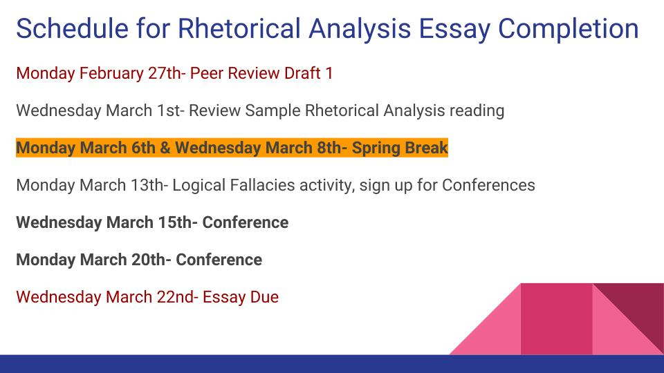 rhetorical analysis eng 105 Eh 105 honors composition - h 3 cr this course emphasizes the types of  writing  analysis of literary models, critiques of students' work, and craft  discussions will  readings in rhetorical theory, ancient and modern, are  applied in specific.