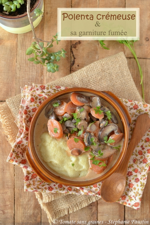 Polenta crémeuse, carottes et champignons fumés