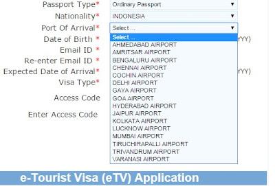 Langkah langkah Turis Visa ke India