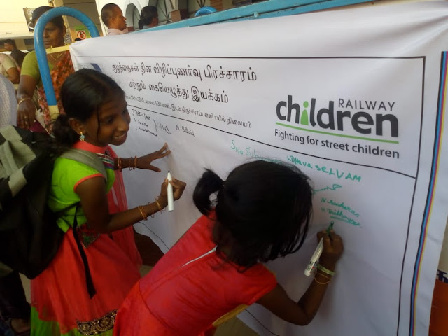 SEVAI-RCI?CCRS project celebrated Children?s day-2018 in Trichy Railway Junction.