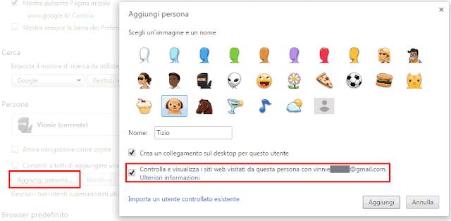 Chrome aggiungere persona come utente supervisionato