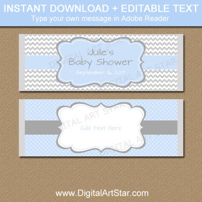 boy baby shower candy bar wrappers in blue and gray for easy party favors at your baby shower