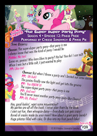 MLP The Super Duper Party Pony Series 5 Trading Card