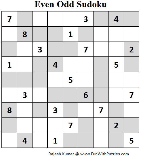 Even Odd Sudoku (Fun With Sudoku #67)