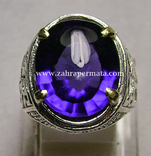 Cincin Batu Permata Purple Obsidian