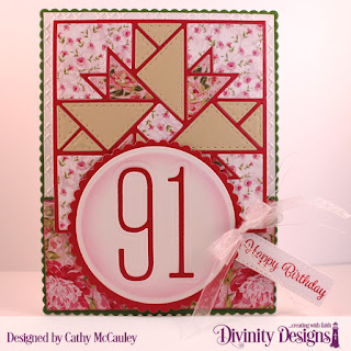 Divinity Designs Stamp Set: Treat Tag Sentiments 3, Paper Collection: Pretty Pink Peonies, Embossing Folder: Cross Stitche, Custom Dies: Quilted Triangles, Treat Tags, Scalloped Rectangles, Scalloped Circles, Circles, Long & Lean Numbers