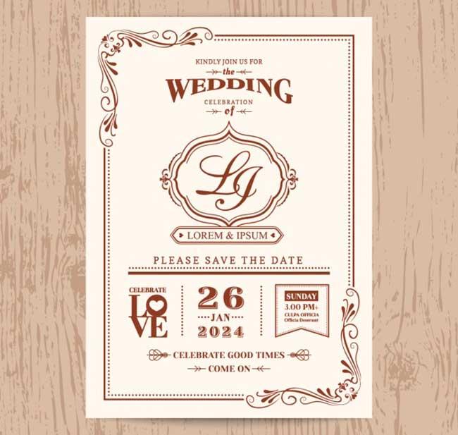 Wedding invitation vintage style download