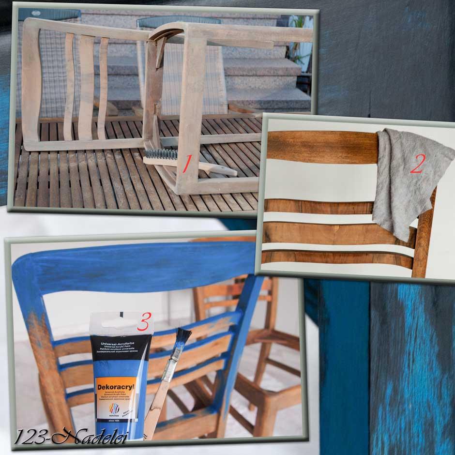 123 nadelei st hle diy blau mit shabby schwarz. Black Bedroom Furniture Sets. Home Design Ideas