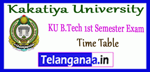 KU B.Tech 1st Sem Exam Time Table