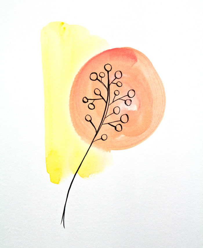 Gouache paint and ink buds by Kim Dellow