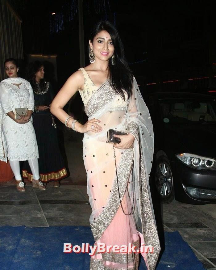 , Shriya Saran Latest Hot Photos in Beige Saree at Ekta Kapoor's Bash
