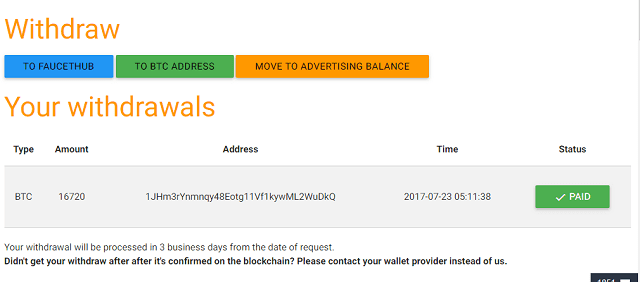 Bukti Penarikan / Withdraw dari adbtc.top