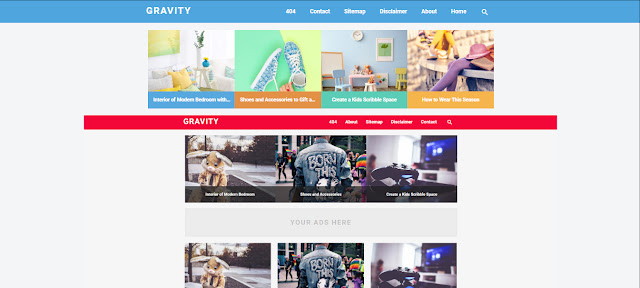 Graivity Blogger Template Red And Blue Free Download