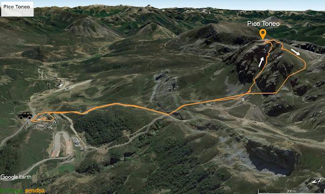 Ruta señalizada al Pico Toneo por el corredor noroeste