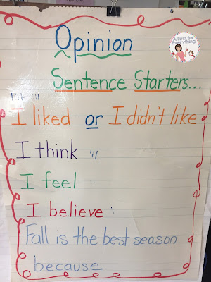 How to write an opinion piece for first & second graders. This sentene starter anchor chart is a perfet way to get your young writers going during writer's workshop as they learn the words associated with writing about their opinions. {K, 1st, 2md grade, homeschool.}