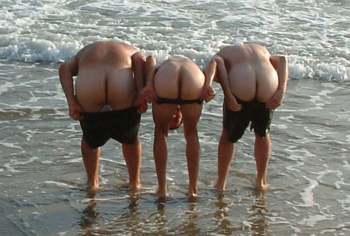 Three friends mooning 6
