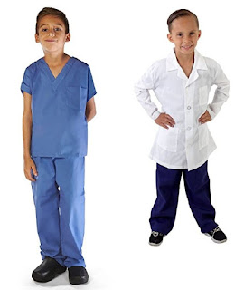 Kids doctor kit, scrubs and lab coat