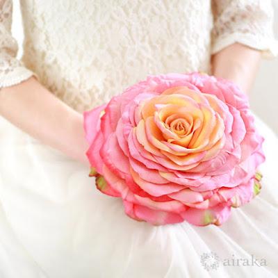 バラのメリアブーケ(ピンク)-ウェディングブーケと花髪飾りairaka