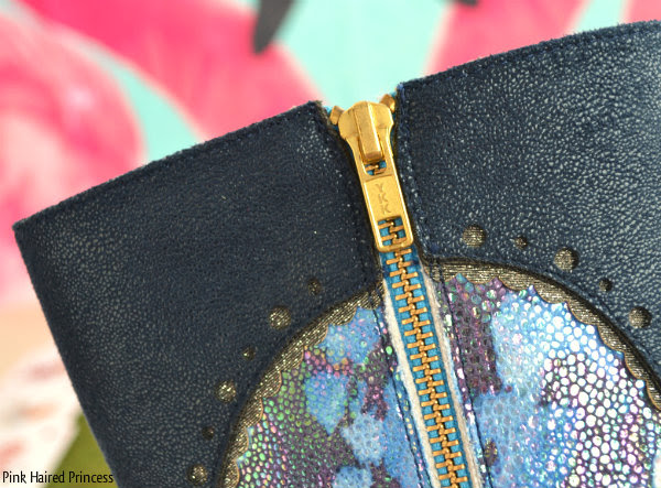 zip detail on blue boots