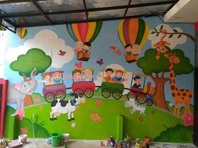 lukisan mural dinding tk
