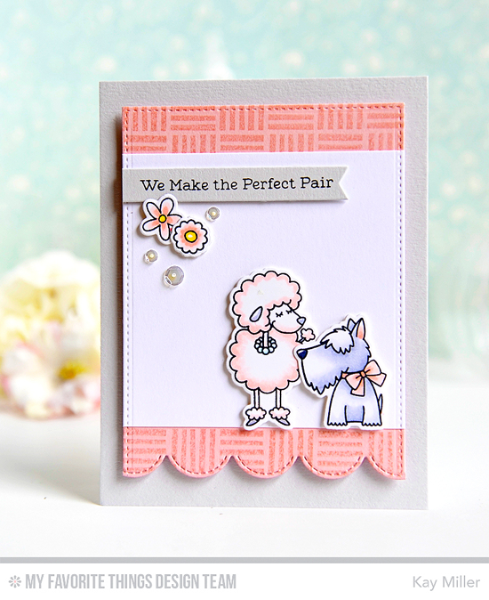 Perfect Pooch Pair Card by Kay Miller featuring Snuggle Bunnies stamp set, the Build-able Bouquet and Birdie Brown Lucky Dog stamp sets and Die-namics, Crosshatch Background stamp, and Stitched Scallop Edges, Fishtail Flags STAX, and Blueprints 20 Die-namics #mftstamps
