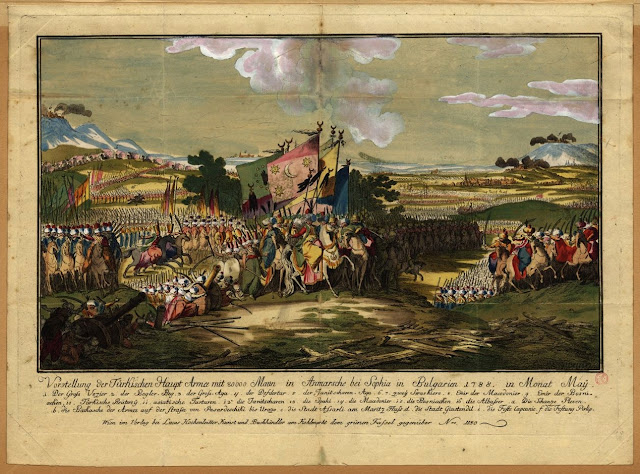 Illustration of The Ottoman army led by the Grand Vizier advancing to Sofia in May 1788. Austro-Turkish War. Situation Normal, and other stories of The Better Defense. marchmatron.com