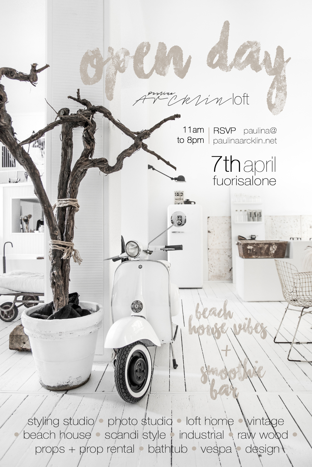 OPEN DAY 7th OF APRIL 2017 - <BR>PAULINA ARCKLIN LOFT