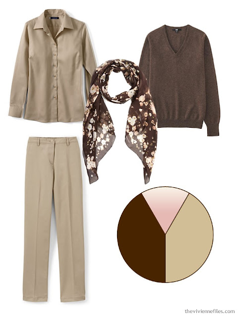 beige and brown 3-piece outfit, with brown floral scarf, and a brown, beige and pink color scheme