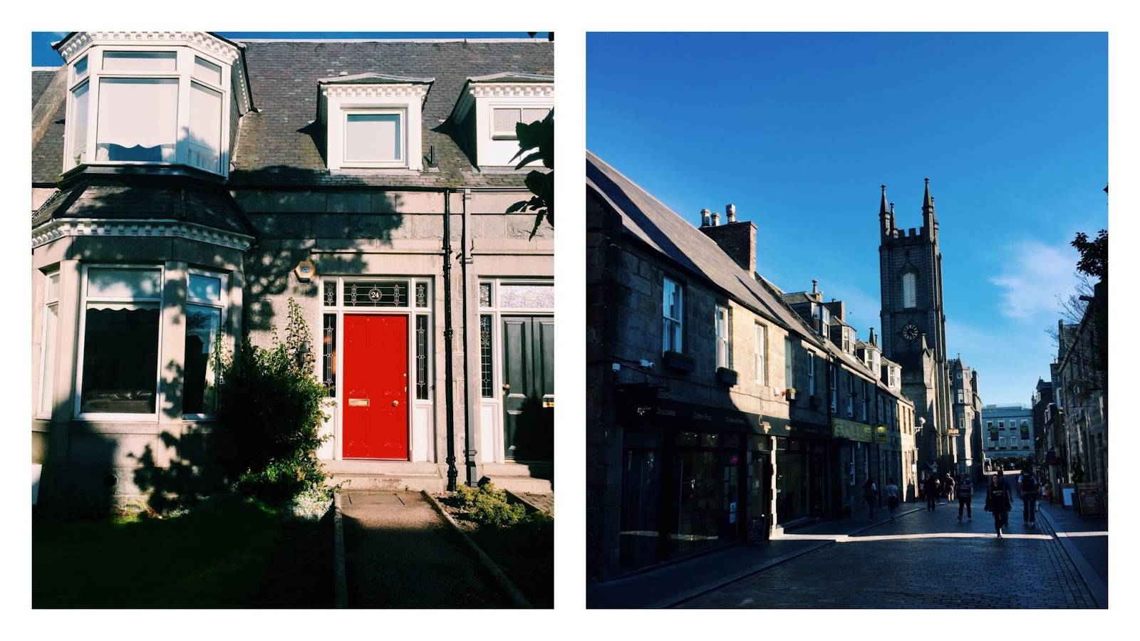 Typical Red Doors and Belmont Street Aberdeen