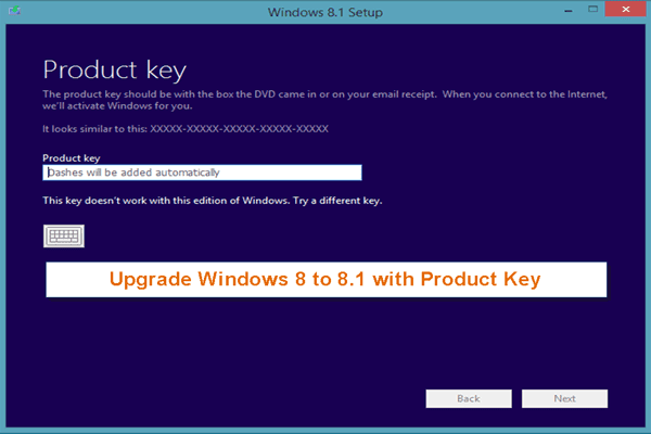 use product key to upgrade windows 8