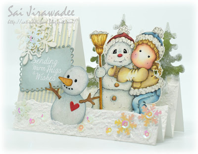 Magnolia Snowy Hug Step Card