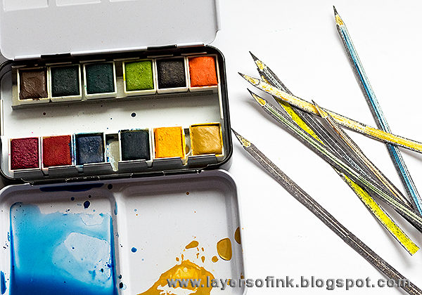 Layers of ink - Happy Pencil Tag by Anna-Karin with Darkroom Door stamps and Prima Tropicals watercolor set.