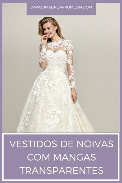 Vestido de noiva mangas transparentes